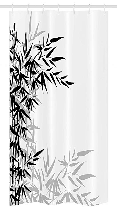 Clipart shower stall realistic black and white vector black and white Ambesonne Bamboo Stall Shower Curtain, Bamboo Leaves on Clear Simple  Background Organic Life Artistic Illustration, Fabric Bathroom Decor Set  with ... vector black and white