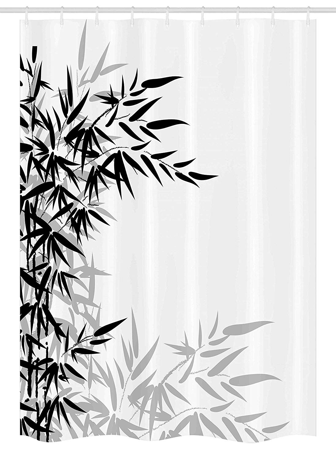 Clipart shower stall realistic black and white picture black and white library Ambesonne Bamboo Stall Shower Curtain, Bamboo Leaves on Clear Simple  Background Organic Life Artistic Illustration, Fabric Bathroom Decor Set  with ... picture black and white library