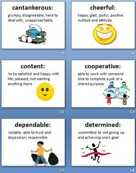 Clipart showing good character traits clipart stock Character Traits Adjectives definitions and activity packet | To ... clipart stock