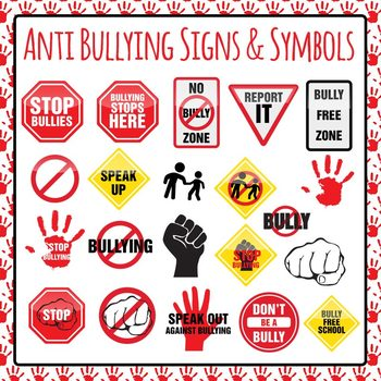 Clipart signs and symbols picture download Anti Bullying Signs Symbols and Icons Clip Art Pack for Commercial Use picture download