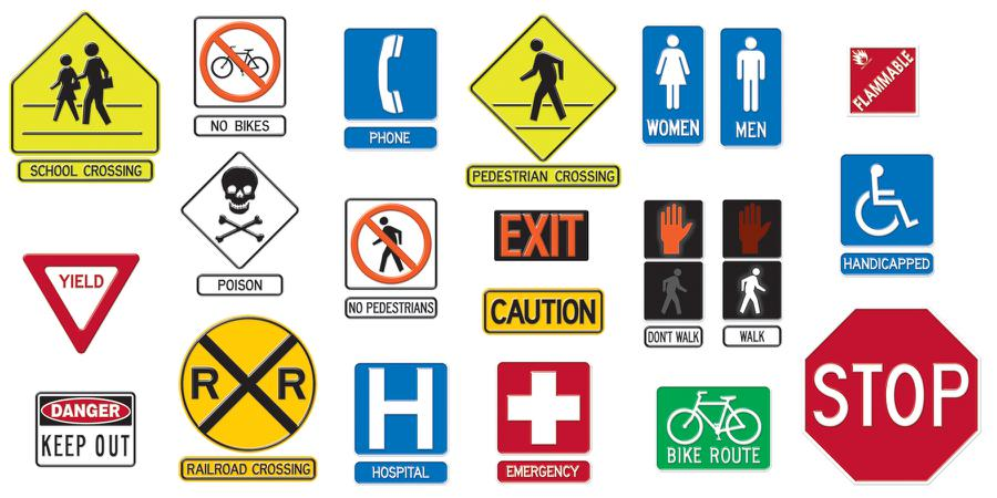 Clipart signs and symbols graphic freeuse library Safety Signs Symbols Bulletin Board Set | T-735 - Clip Art Library graphic freeuse library