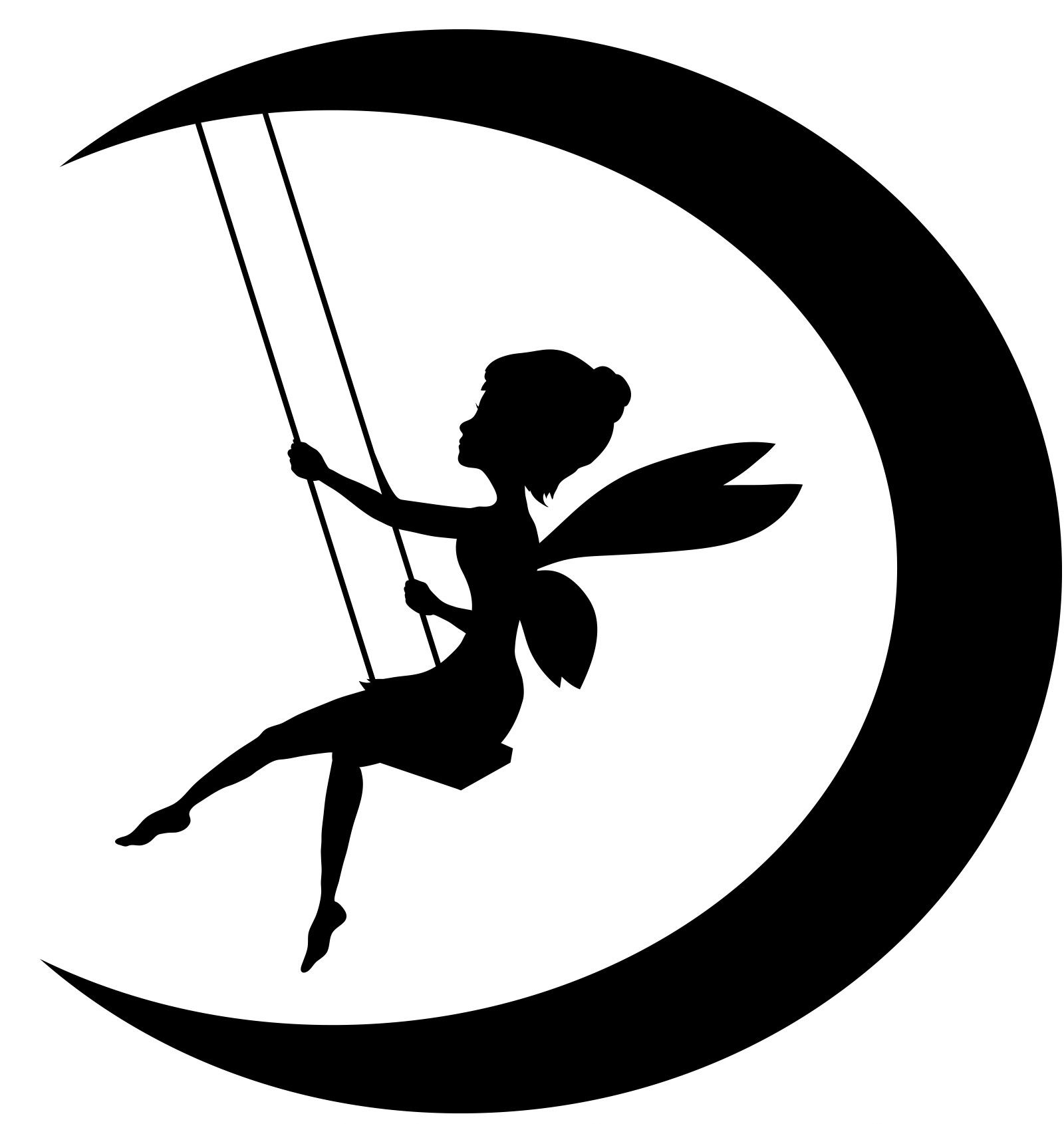 Fairy sitting on the moon blowing kisses clipart banner black and white download Viewing Gallery For - Fairy On Moon Silhouette - ClipArt Best ... banner black and white download