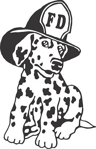 Fire department dalmation clipart black and white clip transparent library Dalmatian Fire Dog Firehouse Fireman Car Truck Window Wall Vinyl ... clip transparent library