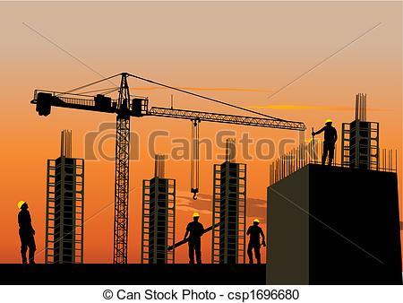 Clipart site en construction vector transparent download Vector Clipart of Silhouette of construction site with workers and ... vector transparent download