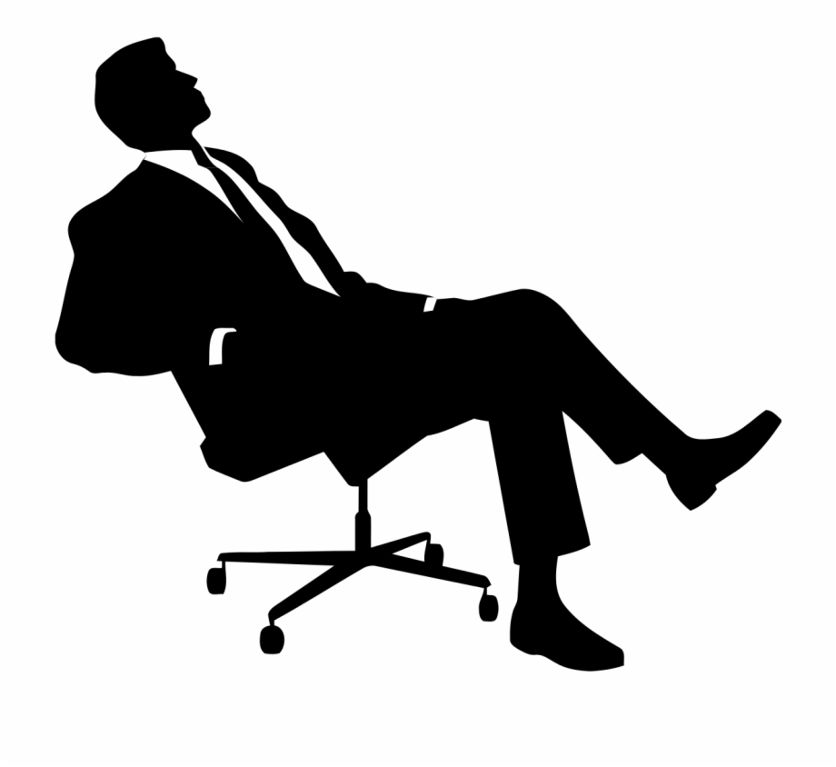 Clipart sitting in chair black & white vector library download Work Man Sitting - Ceo Clipart Black And White Free PNG Images ... vector library download