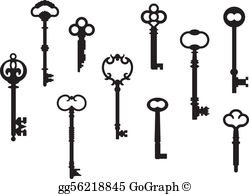 Old fashioned key clipart banner royalty free library Skeleton Key Clip Art - Royalty Free - GoGraph banner royalty free library