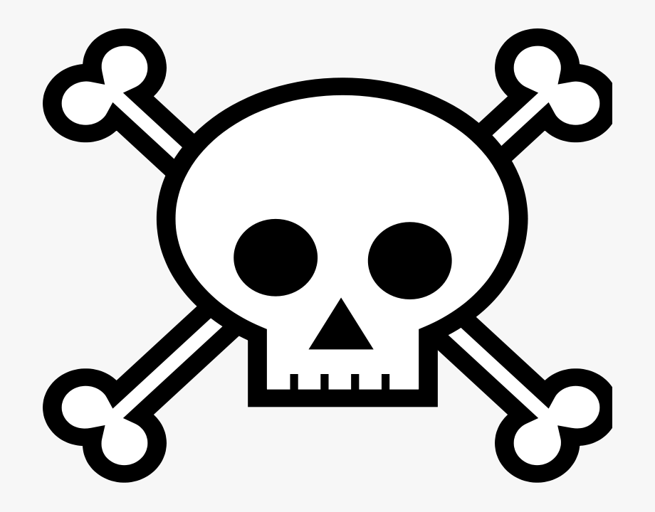Free skull and crossbones with black background clipart. Crossbone easy drawing