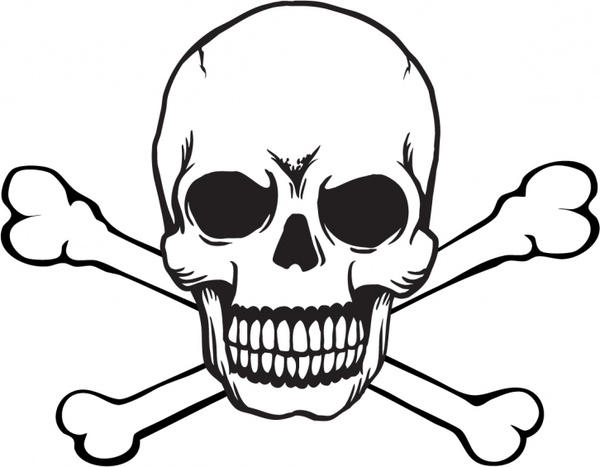 Free skull and crossbones with black background clipart. Vector in adobe illustrator