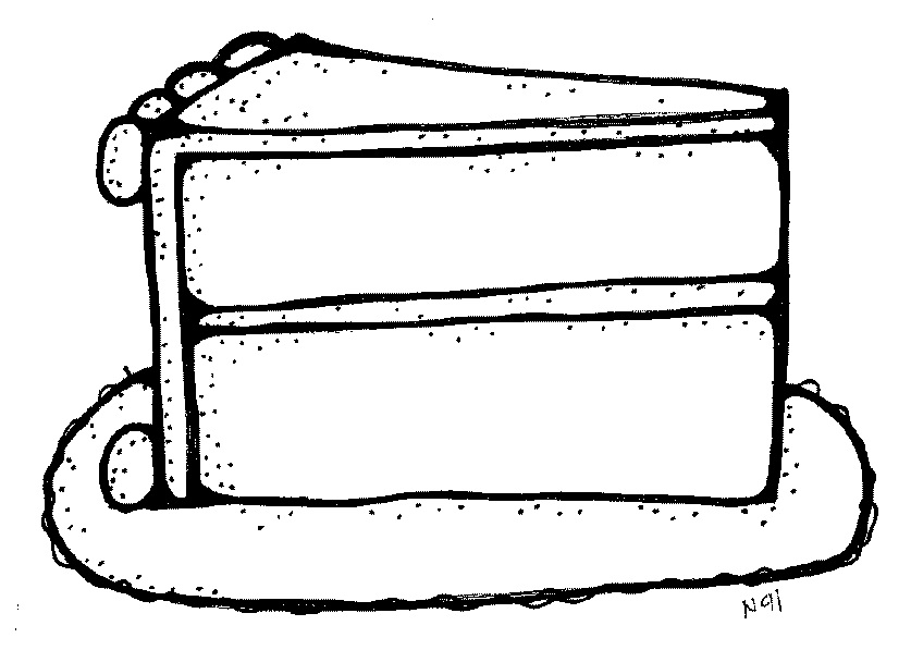 Clipart slice of cake. Black and white kid