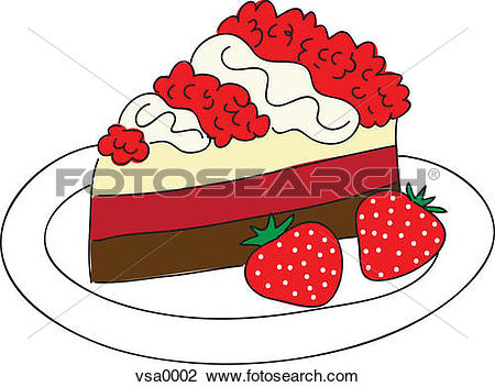 Clipart slice of cake vector free download Clip Art of A slice of cake with a side of strawberries vsa0002 ... vector free download