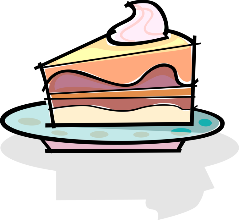 Clipart slice of cake jpg royalty free library Slice of Dessert Cake - Vector Image jpg royalty free library