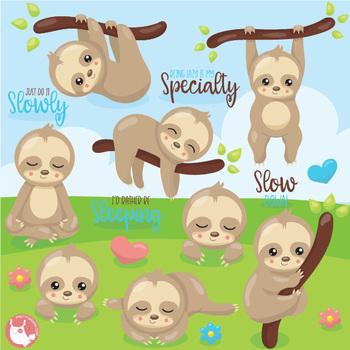 Clipart sloths clip art royalty free stock Sleepy sloths clipart commercial use, vector graphics - CL1077 clip art royalty free stock