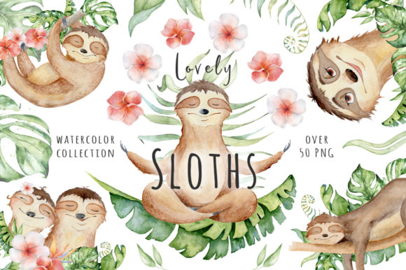 Clipart sloths jpg black and white download Lovely Sloths Watercolor Animals Clipart jpg black and white download
