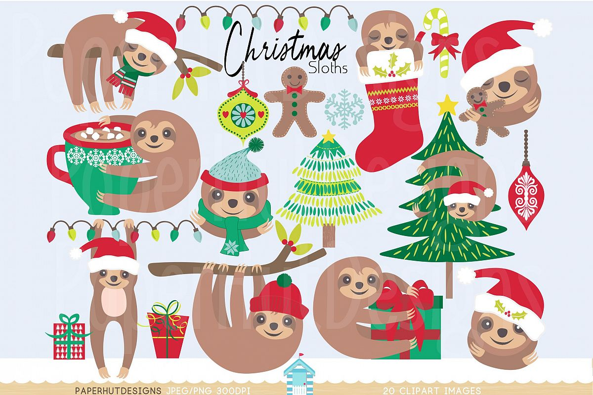 Clipart sloths banner free library Christmas Clipart Sloth banner free library