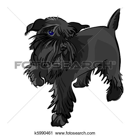 Clipart small black dog image library library Clipart of vector black Miniature Schnauzer dog k5990461 - Search ... image library library
