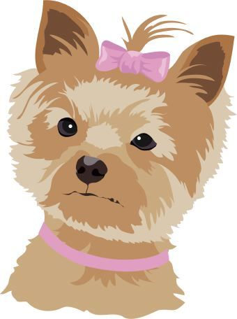 Clipart small brown dog vector free Clip art of a small brown and tan dog wearing a pink bow ... vector free