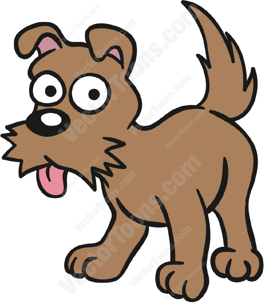 Clipart small brown dog clip black and white library Brown Dog Standing With Its Tongue Hanging Out Cartoon Clipart clip black and white library