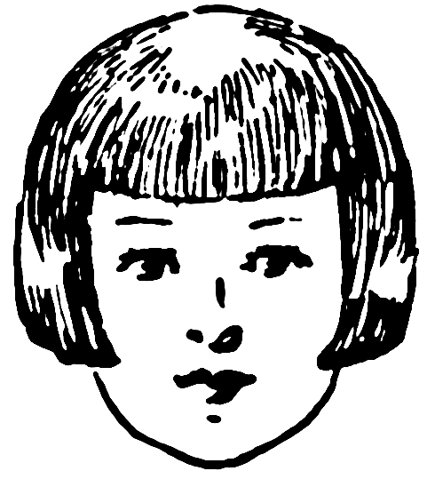 Clipart small girl bangs black and white image library stock Hair Bangs Clipart - Clip Art Library image library stock