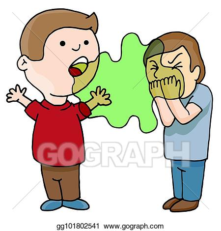 Clipart smelling clipart black and white stock Vector Clipart - Two men talking bad foul smelling breath. Vector ... clipart black and white stock