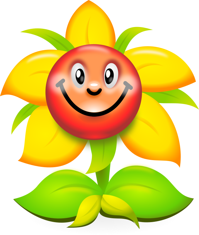 Smiling flower clipart image black and white download Clipart - Funny Yellow Flower Character - superb production quality image black and white download