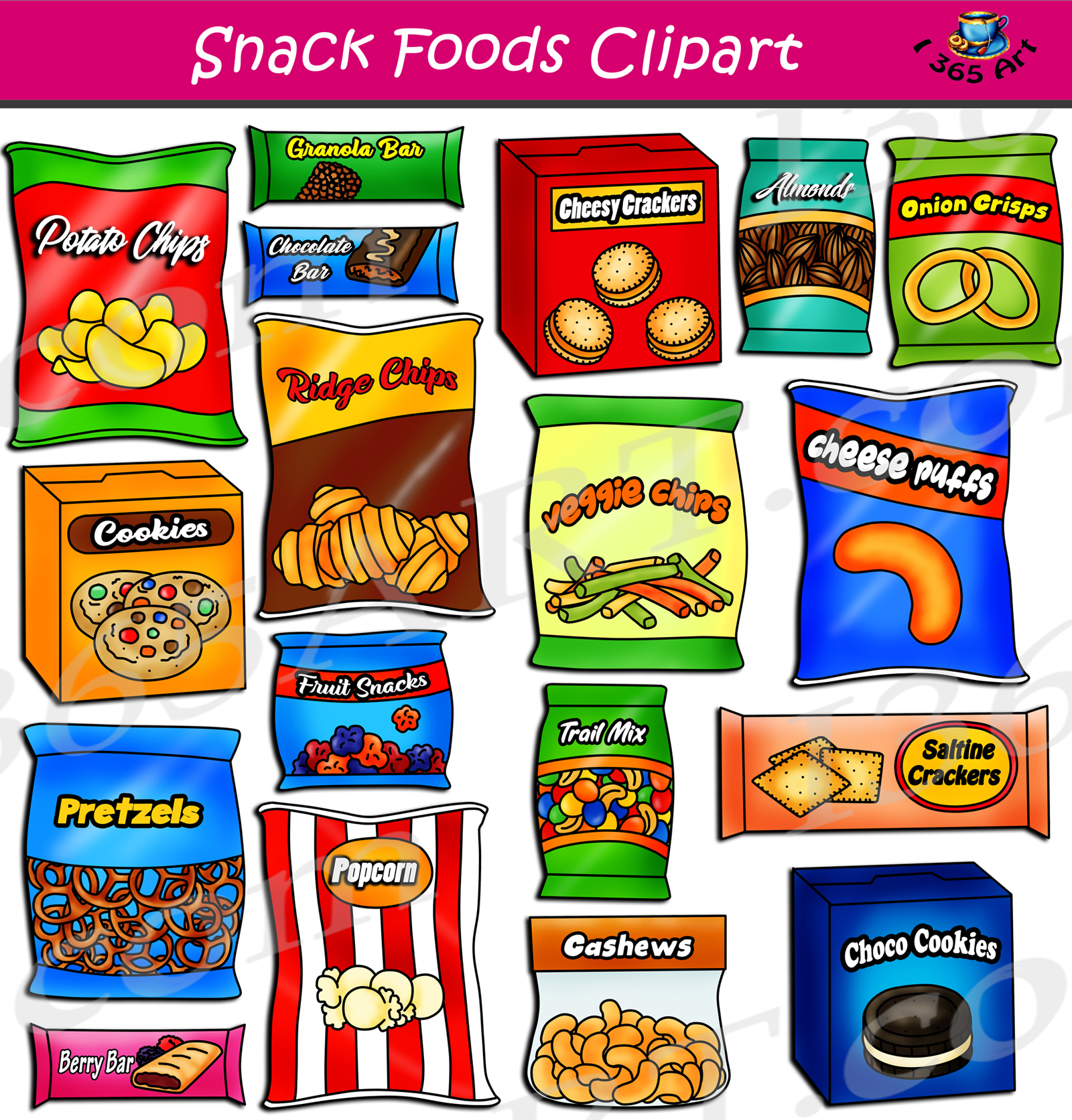 Snack food pictures clipart clip free stock Snack Foods Clipart Set Download clip free stock