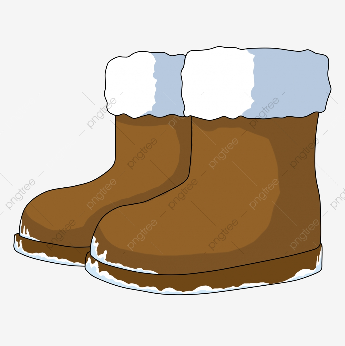 Cartoon Winter Small Things Snow Boots Brown Boots Keep Warm, Lovely ... download