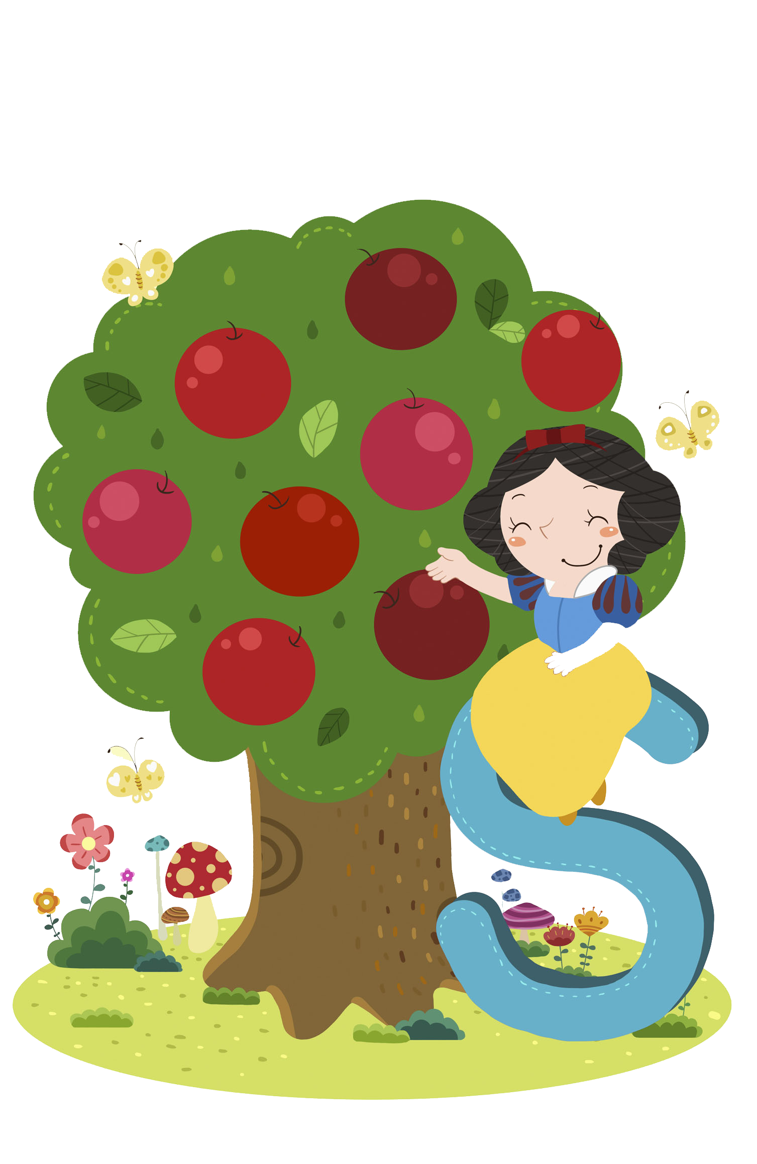 Snow white clipart apple clipart stock Snow White Apple Cartoon Illustration - Hand-painted apple tree 1507 ... clipart stock