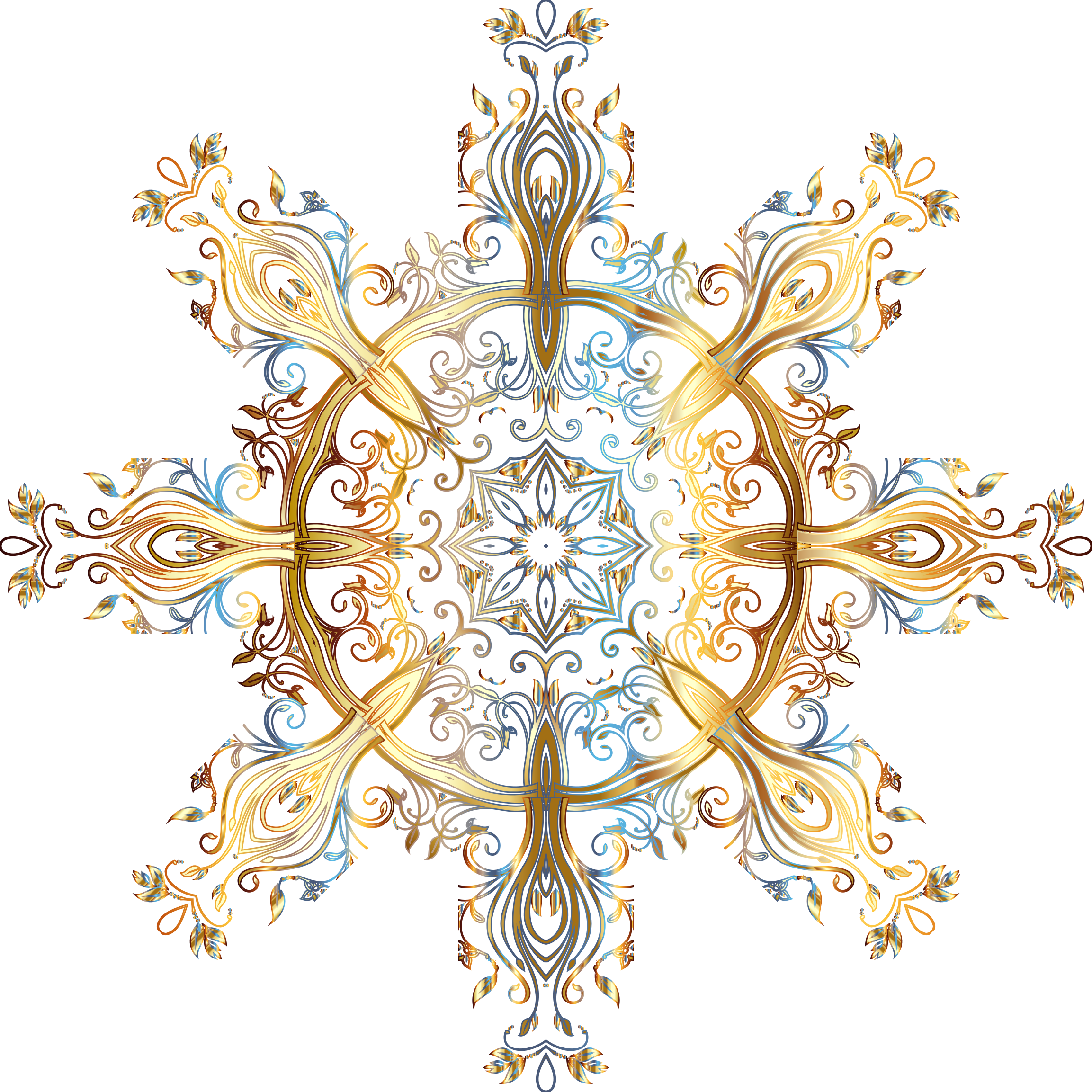 Clipart snowflake flourishes jpg freeuse Clipart - Chromatic Gold Flourish Ornament 4 No Background jpg freeuse