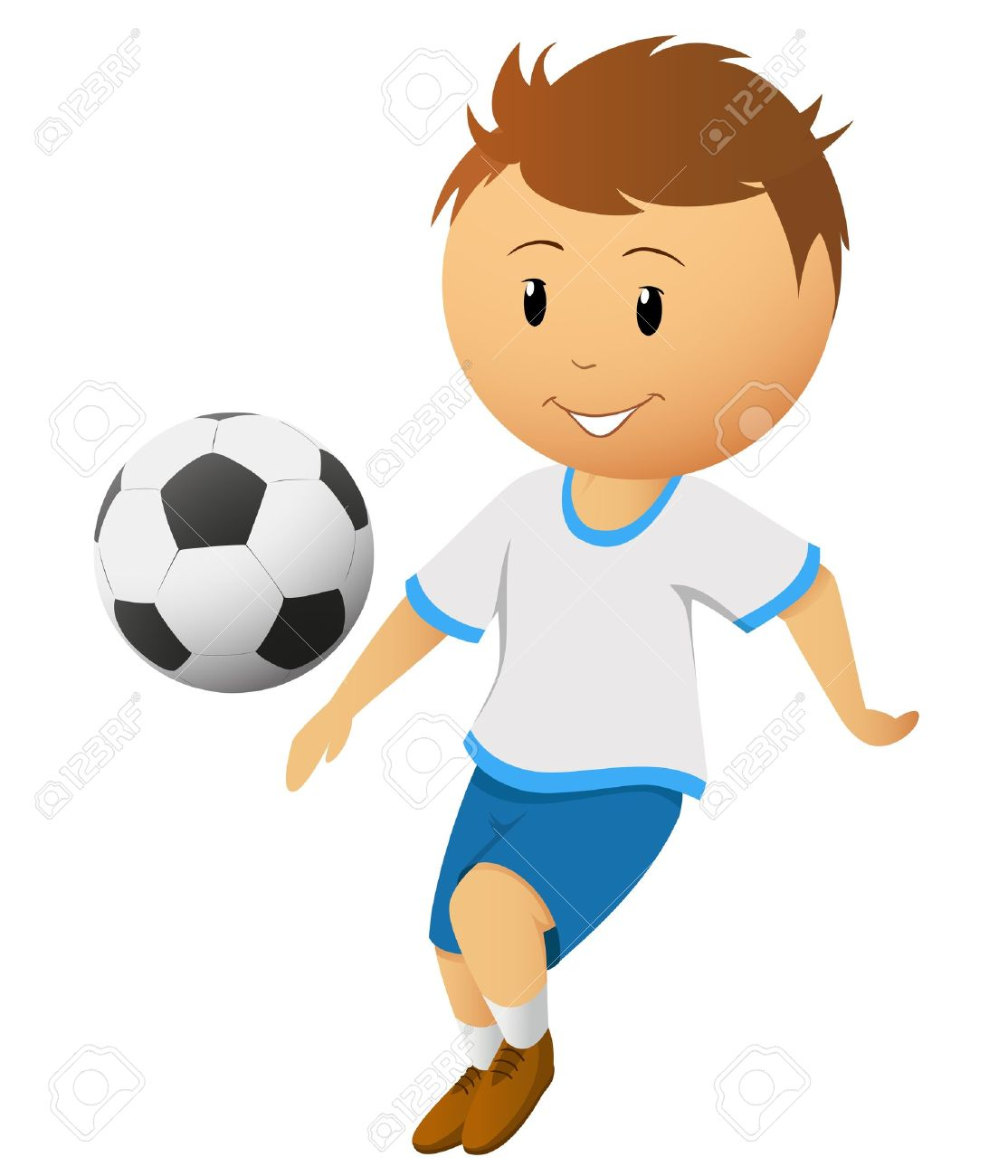 Clipart soccer player no ball picture download Cartoon Footballer Or Soccer Player Play With Ball Isolated On ... picture download