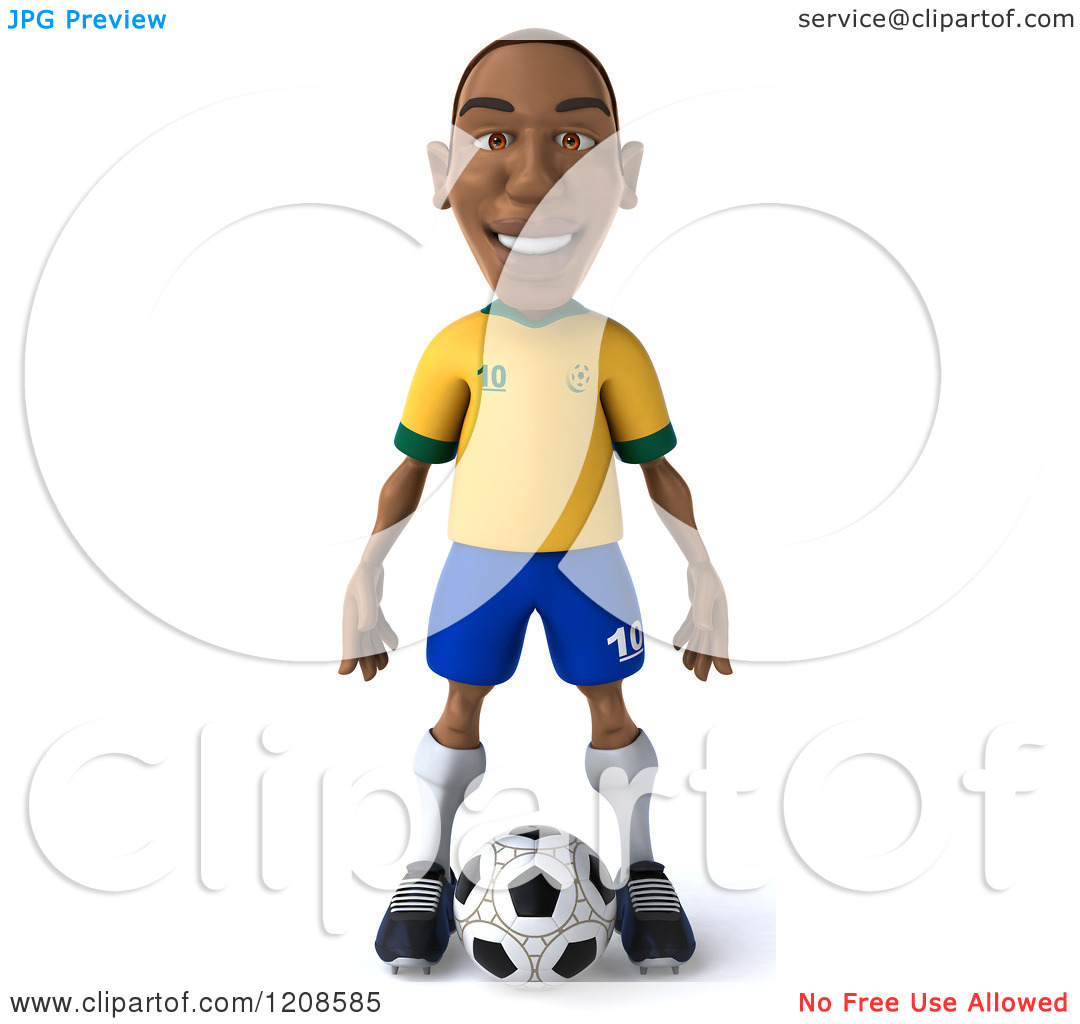 Clipart soccer player no ball png library download Clipart of a 3d Brazilian Soccer Player Standing over a Ball 2 ... png library download
