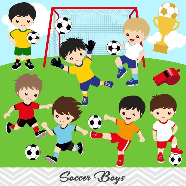 Clipart soccer team picture stock Boys Soccer Digital Clip Art, Sport Boys Soccer Team Clipart, 00256 picture stock