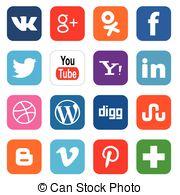 Clipart social media icons. Vector clip art illustrations