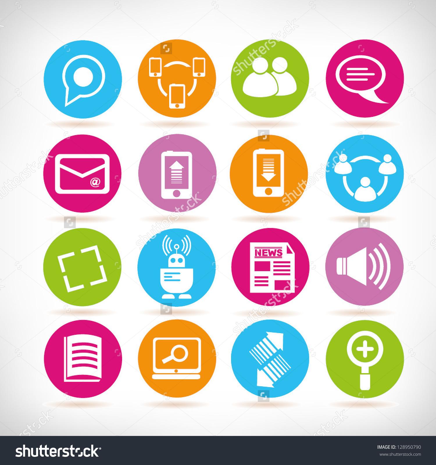 Clipart social media icons vector library Social Media Icons Web Application Set Stock Vector 128950790 ... vector library