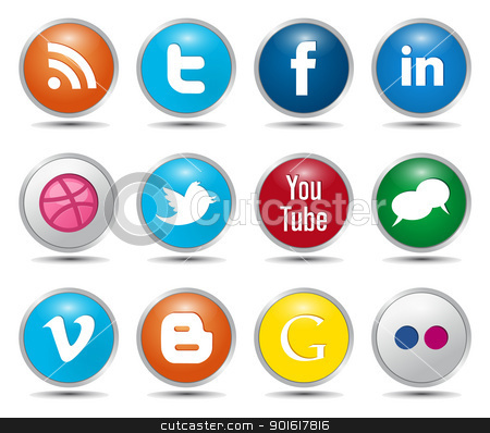 Clipart social media icons clip freeuse download Color Social Media Icons stock vector clip freeuse download