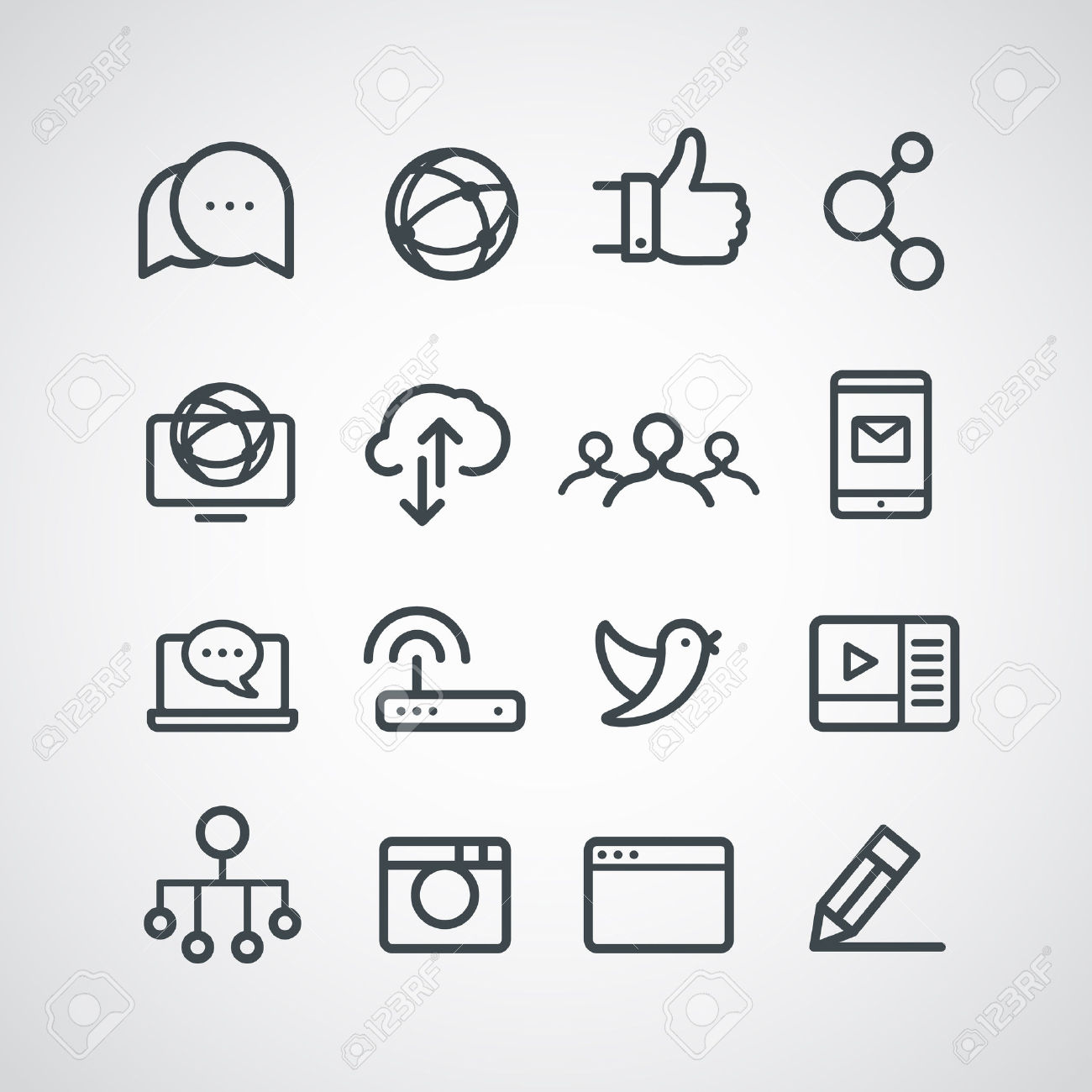 Clipart social media icons png freeuse Different Social Media Icons Collection. Vector Clip-art Royalty ... png freeuse
