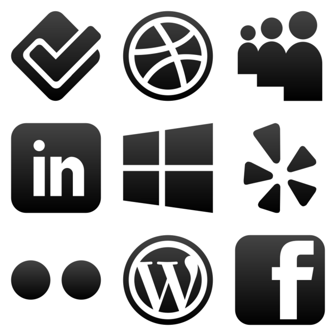 Clipart social media icons. Black and white kid