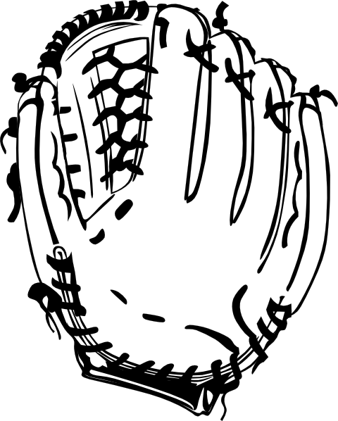 Clipart softball glove png royalty free Baseball Glove (b And W) Clip Art at Clker.com - vector clip art ... png royalty free