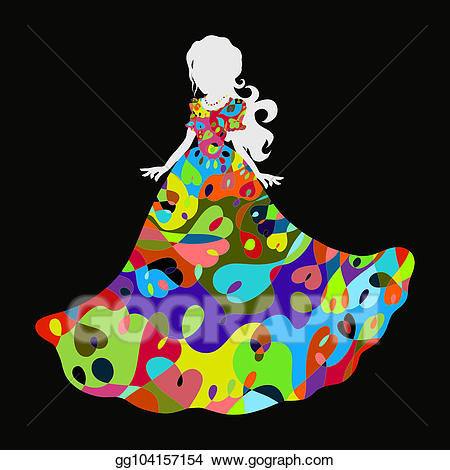 Clipart solemn clip freeuse download Drawing - A beautiful girl in a solemn dress with an iridescent ... clip freeuse download
