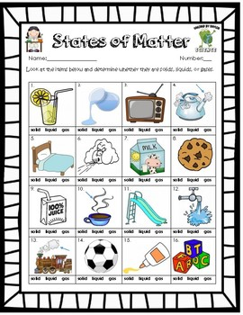 Clipart solid liquid gas picture download Free Solid Liquid Gas ( Phases of Matter ) Worksheet picture download