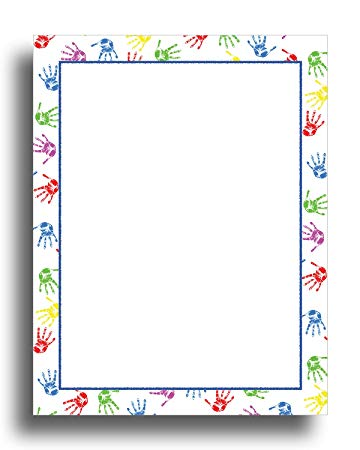 Clipart solid powder blue letterhead stationary borders png library stock Baby Handprints Border Stationery Paper - 80 Sheets png library stock