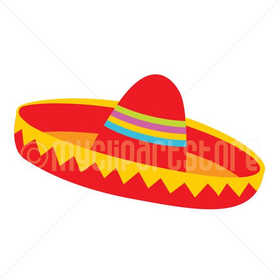 Clipart sombrero hat jpg black and white library Clipart - Red Sombrero Hat (#2) / Cinco De Mayo / Mexican Clipart ... jpg black and white library