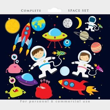 Space things clipart jpg black and white library Space clipart - astronaut clip art, UFOs, aliens, spaceship, rocket ... jpg black and white library