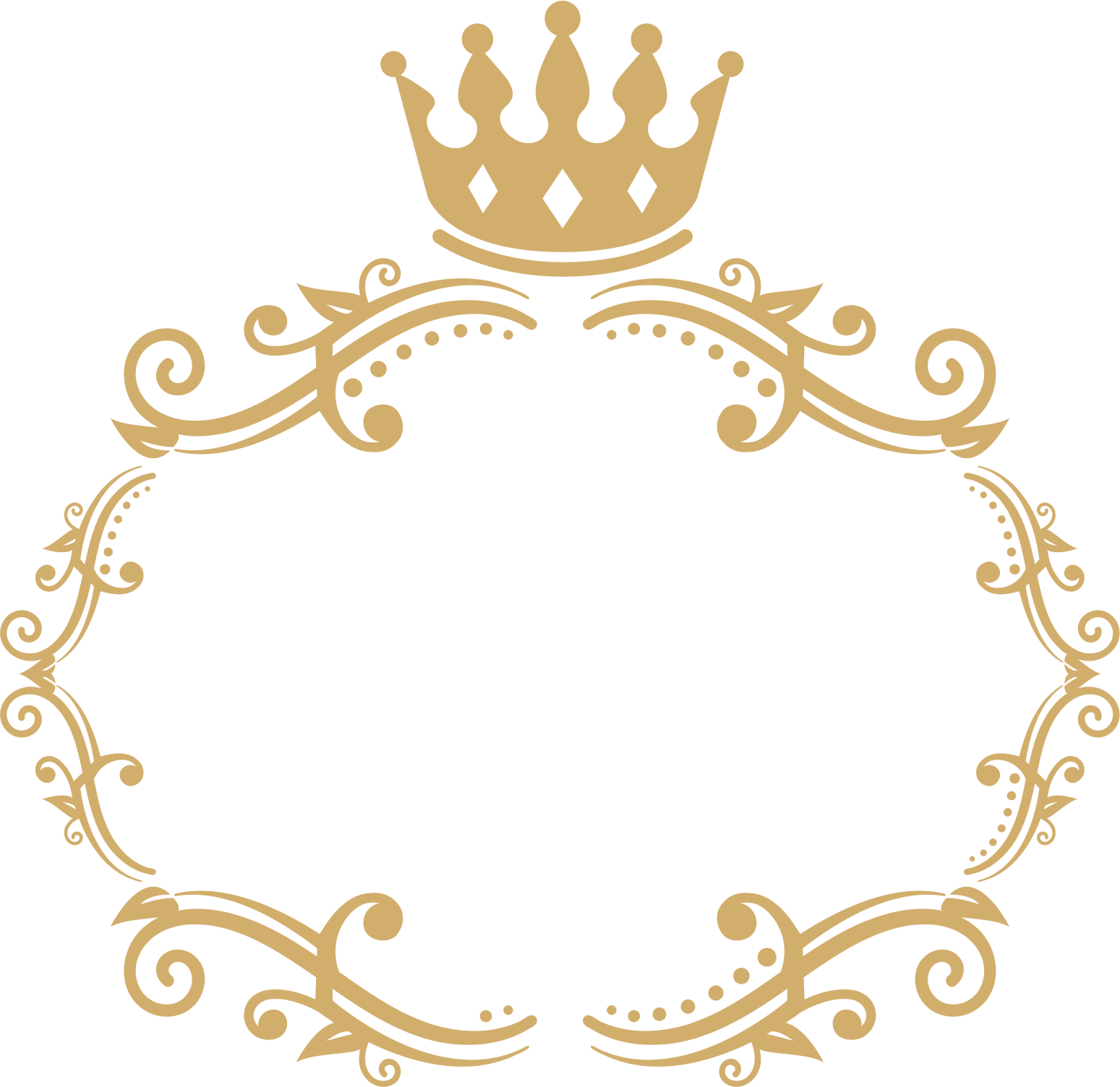 Crown monogram circle border clipart