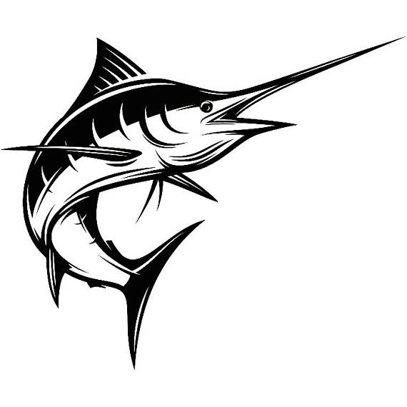 Clipart spear png black and white fish jumping image black and white Marlin Fishing #3 Deep Sea Ocean Water Hunting Fish Competition ... image black and white