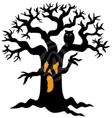 Clipart spooky tree jpg black and white library Halloween Tree Art Images & Pictures - Becuo | wood signs / wood ... jpg black and white library