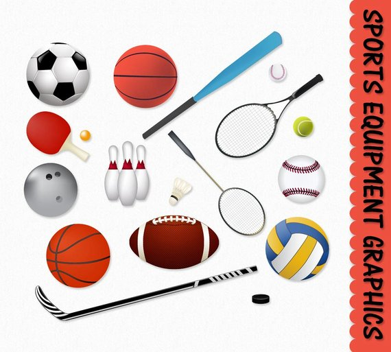 Clipart sports equipment clip royalty free library Sports Equipment Clip Art Clipart Graphic Scrapbook Basketball ... clip royalty free library