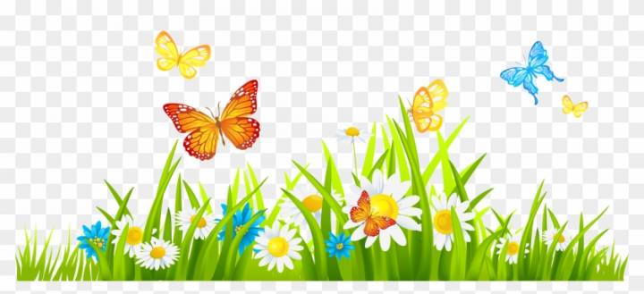 Clipart spring flowers border graphic transparent stock Grass Ground With Flowers And Butterflies Png Clipart - Spring ... graphic transparent stock