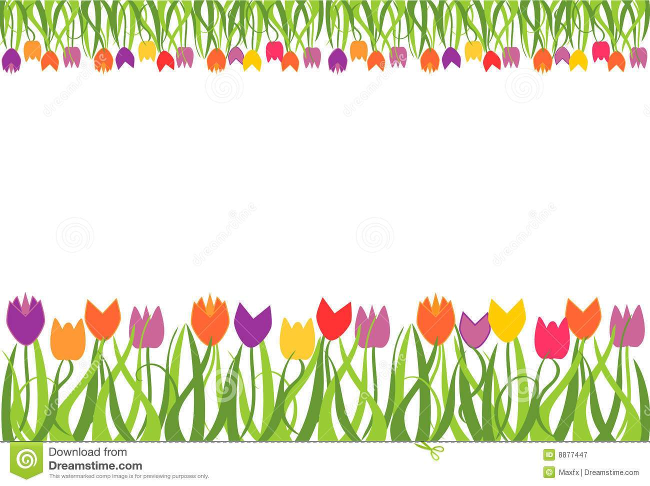Clipart spring flowers border clip black and white stock Spring flowers border clipart 6 » Clipart Portal clip black and white stock