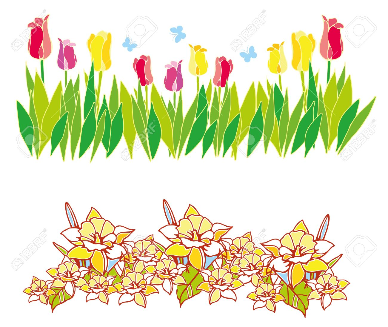 Spring time flowers clipart banner stock Clipart spring flowers border 4 » Clipart Station banner stock
