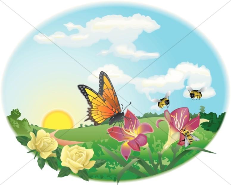 Clipart spring garden vector black and white download Spring Garden Scene   Butterfly Clipart vector black and white download